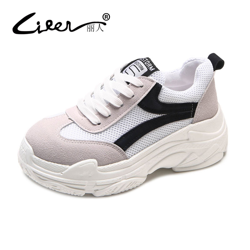 Liren 2018 Spring Women New Sneakers Platform Black White Casual Shoes Women Fashion Lace Up Breathable