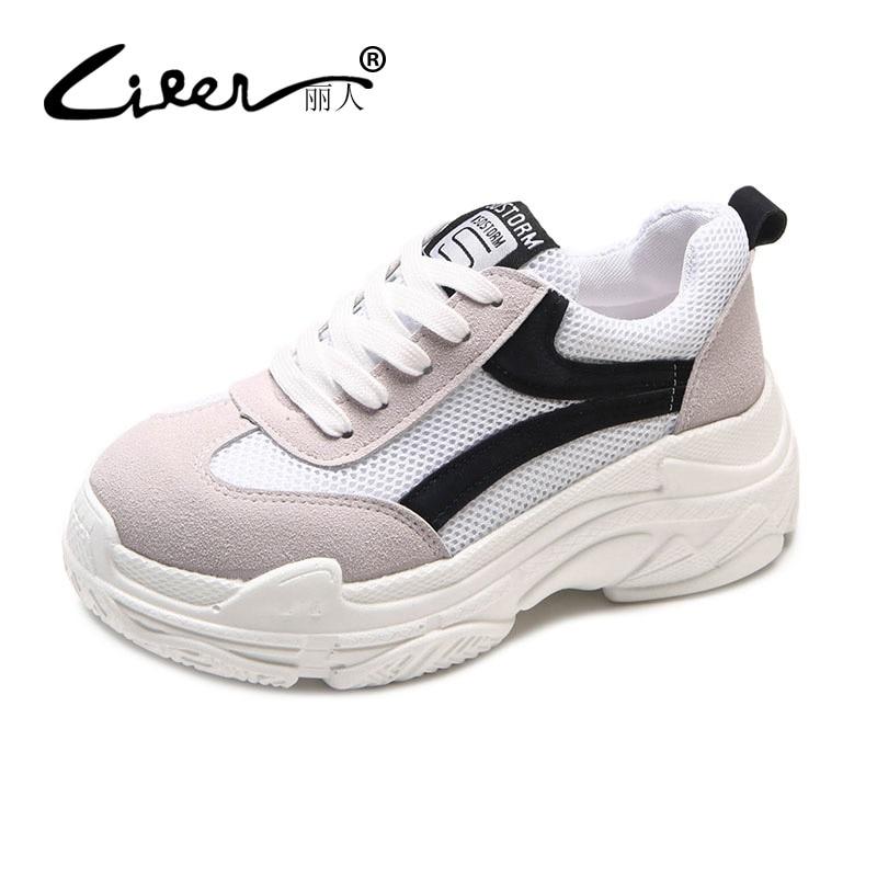 Liren 2018 Spring Women New Sneakers Platform Black White Casual Shoes Women Fashion Lace Up Breathable Shoes Size 35-39