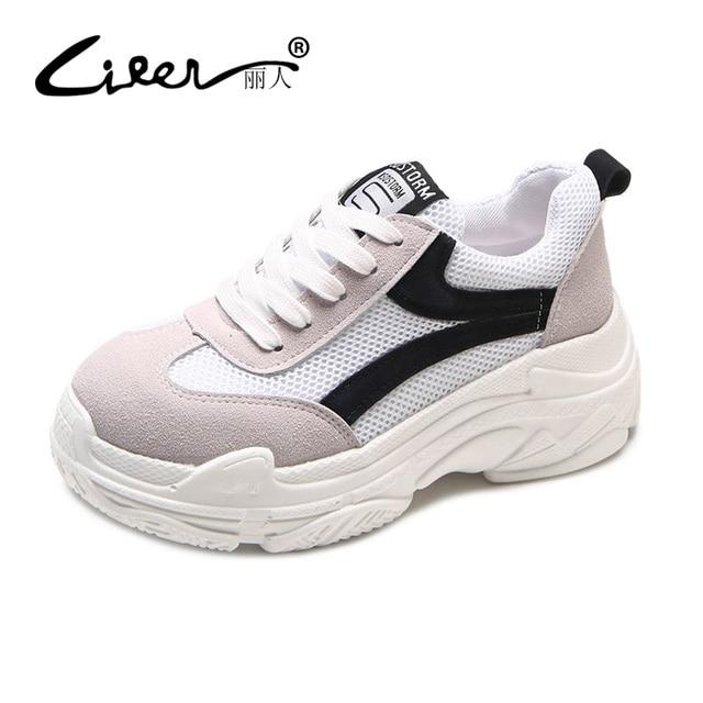 Liren/Новинка 2018 года, весенние женские кроссовки на платформе, черная, белая повседневная обувь, женская модная дышащая обувь на шнуровке, Размеры 35-39