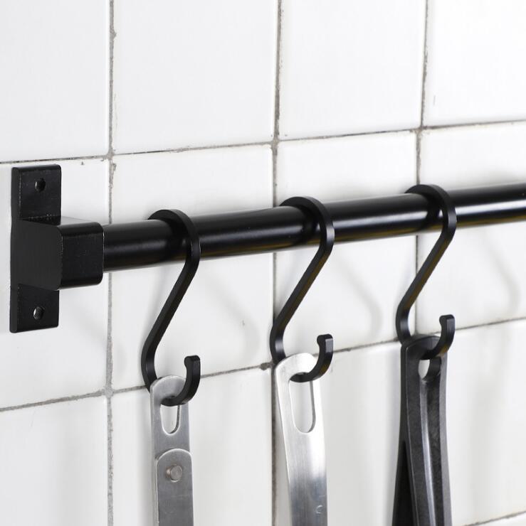 Black Space Aluminum Practical Hanging Hooks Bathroom Metal Clothes Hook Wardrobe Hook Storage Rack 1 Pcs