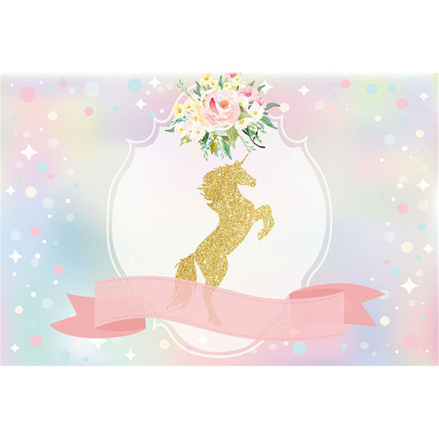 Gold unicorn kids birthday party photography backdrop printed pink gold unicorn kids birthday party photography backdrop printed pink ribbon flowers bokeh baby shower photo booth mightylinksfo