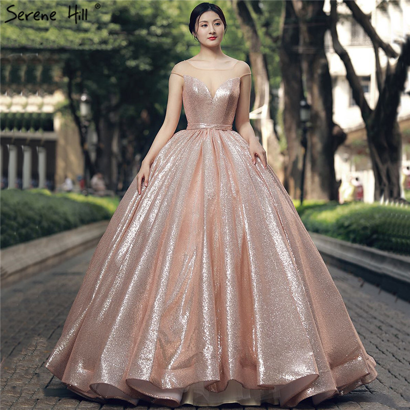 Long Evening Gowns For Wedding: New Fashion Long Gliter Arabic Gold Formal Evening Prom
