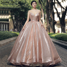 New Fashion Long Gliter Arabic Gold Formal Evening Prom Party Ball Gown Dress Engagement Abiye Gowns Dresses Abendkleider 2020