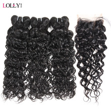 hot deal buy lolly hair brazilian water wave bundles with closure non remy lace closure with bundles deal human hair bundles with closure