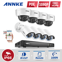 ANNKE Professional 1080P POE Security Camera System 4CH Security NVR With 4x 2MP CCTV Dome Cameras