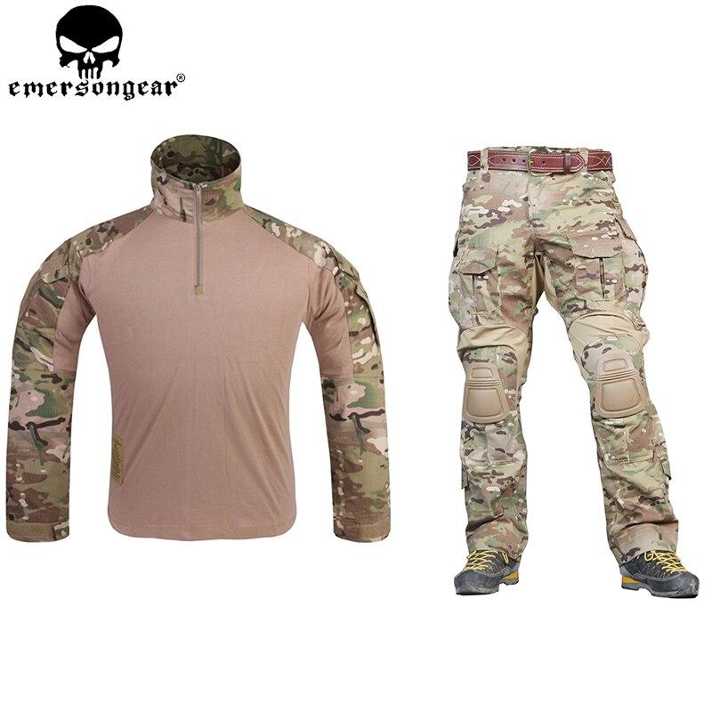 EMERSONGEAR G3 Uniforme de Combat Airsoft Chemise Pantalon avec Genouillères Militaire Tactique Multicam Chasse Camo Vêtements EM9351