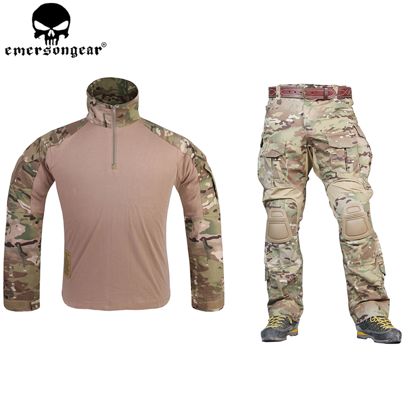 Emersongear G3 Combat Uniform Airsoft рубашка Брюки для девочек с наколенниками Военная Униформа Тактический Мультикам Охота камуфляж одежда EM9351