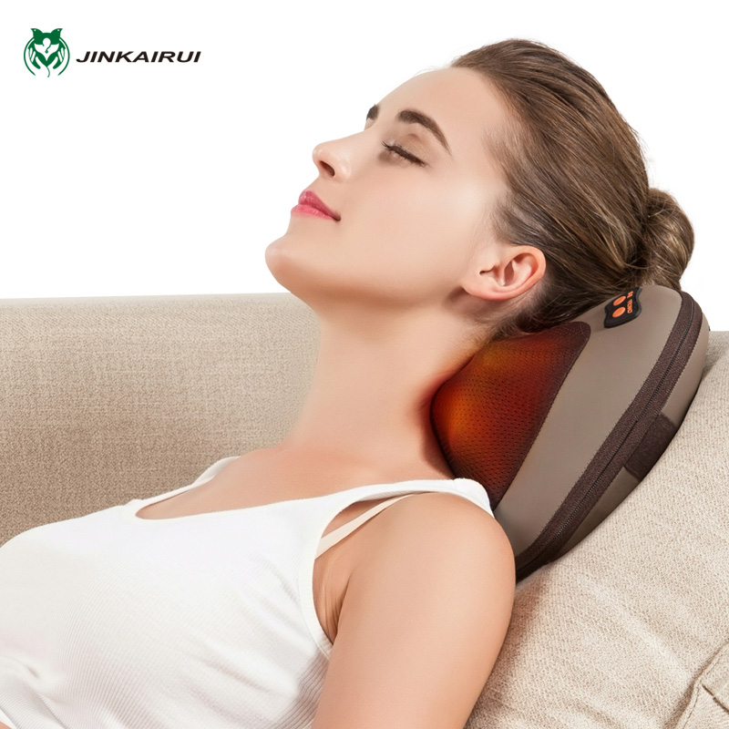 JinKaiRui Vibrating Kneading Neck Body Massager Hammer Pillow Infrared Shiatsu Electric Shoulder Back Massage Massagem Car