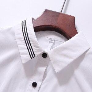 Image 5 - אופנה נשים בגדי כותנה ארוך שרוול חולצה חדש סתיו שחור Slim חולצה משרד גבירותיי עסקי בתוספת גודל חולצות רשמיות