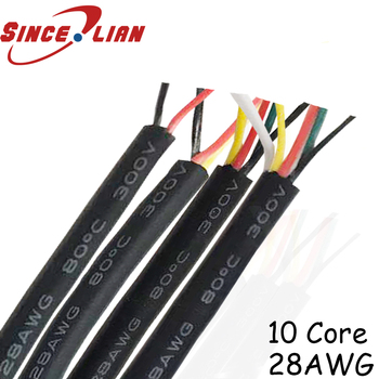 UL2464 28AWG 10 Core flexible Tinned copper Sprial audio cable Speaker Wire Signal Cable Sheathed cable OD5.2MM 30meters