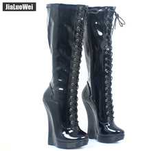 Women 18cm/7 Extreme High Wedge Heel Shoes Fetish Sexy Exotic Platform Lace-up Zipper Patent Leather Knee-High Ballet Boots