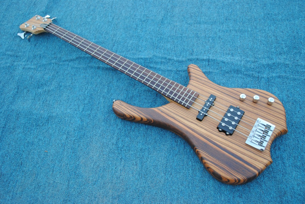 Good sound Starshine JAzz Bass electric guitar zebra wood body