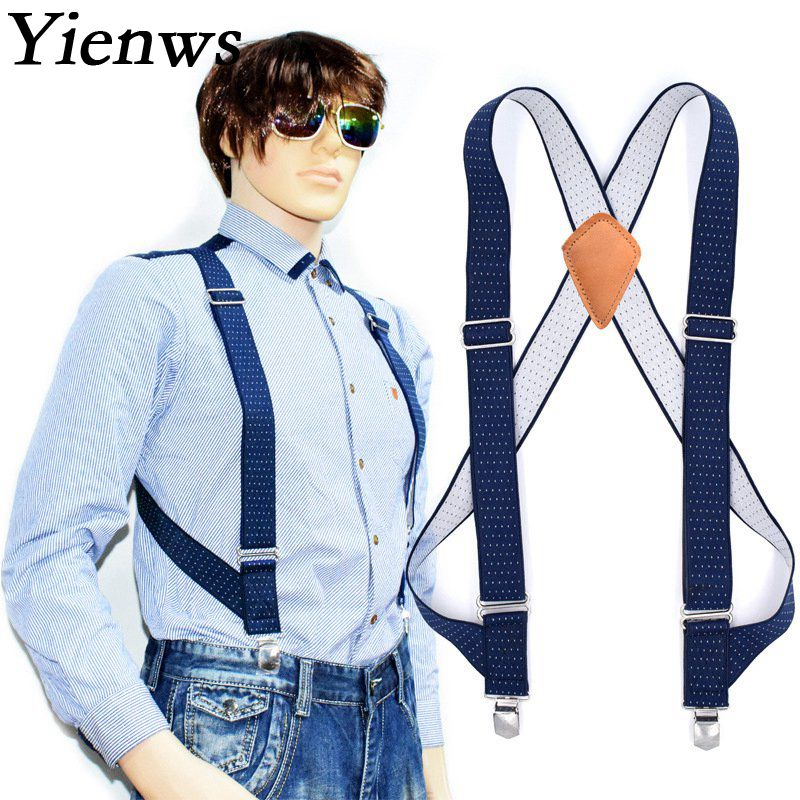 Yienws Commercial Weastern Trousers Brace Strap For Men Large Size Suspenders Man Blue Dot Suspensorio Masculino YiA005