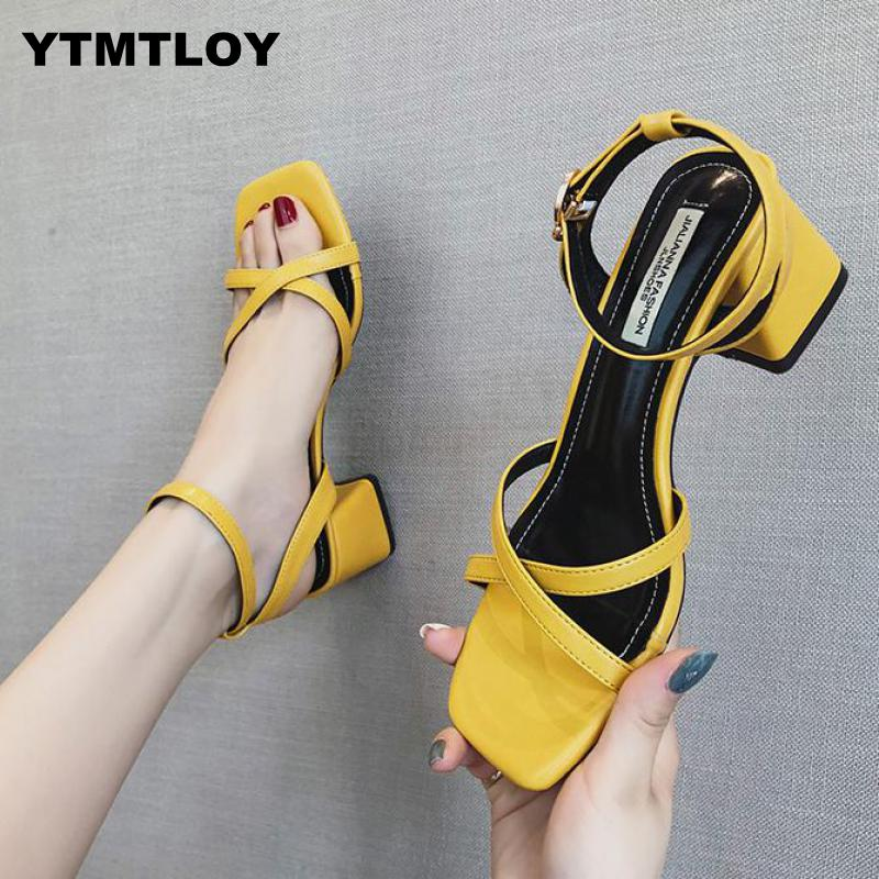 2019 HOT Summer New High Heels Women's Shoes With Open Toe Suede Sexy Word Buckle Women Sandals Rome  Gladiator Red Yellow