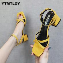HOT Summer Gladiator Red yellow New High Heels Women's Shoes With Open Toe Suede Sexy Word Buckle Women Sandals Rome 2019