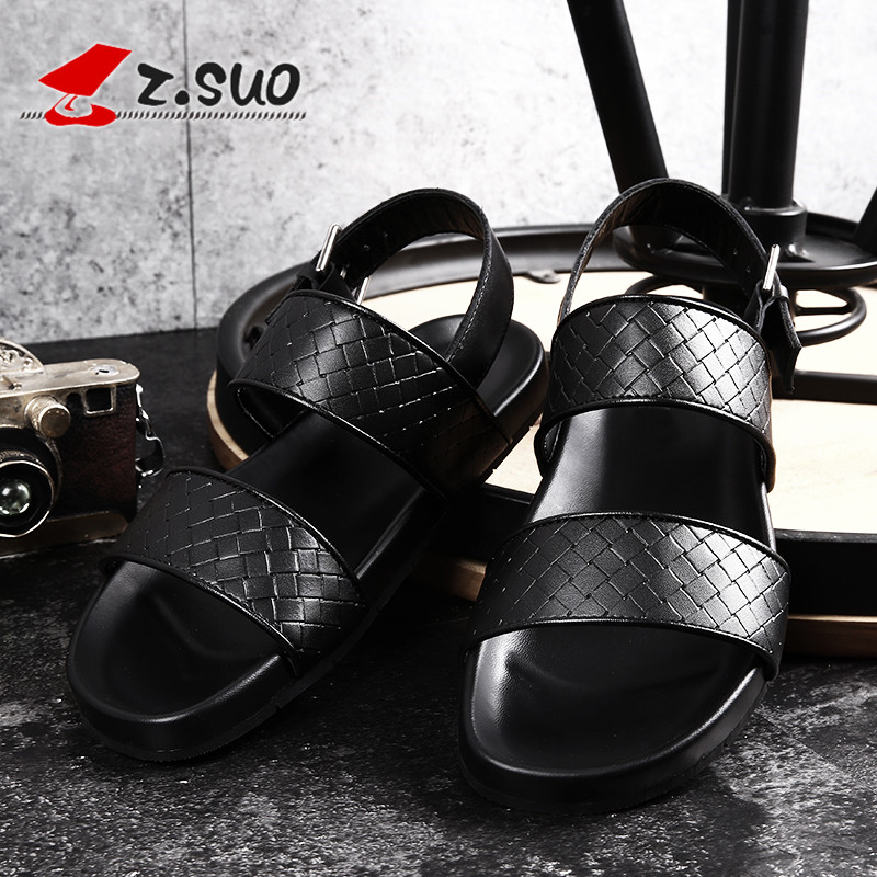 Z.Suo Cow Leather MenS Sandals Casual Summer 2018 Black Fashion Beach Shoes Men Buckle Strap Male Sandals Plus Size 45 46 19605