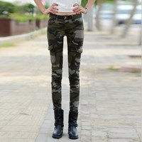 Military Style Camouflage Denim Pants Women Slim Camo Jeans Trousers Female Skinny Jeans Woman Mujer Femme Cargo Side Pocket