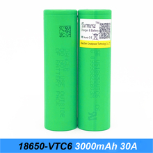 Original 18650 VTC6 3000 mah 30 ampères 18650 apto para ijoy cigarro elétrico para tesla baterias recarregáveis para chaves de fenda