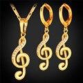 U7 clásico de sistemas de la joyería para las mujeres de cristal de notación musical de oro amarillo plateado cubic zirconia conjuntos collar pendientes s226