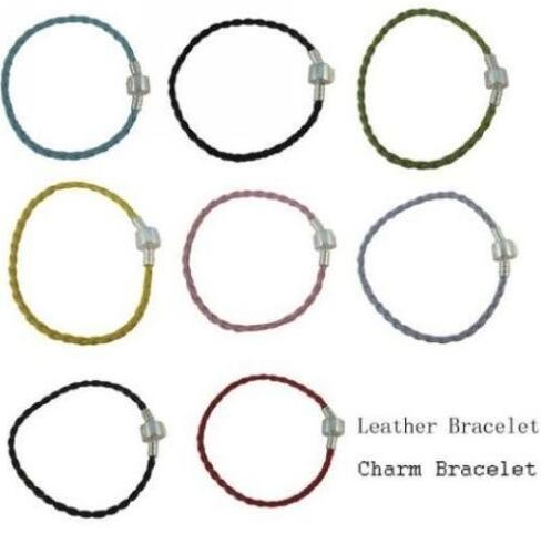 Vintage Silver Copper Buckle Charms Cuff Bracelet Mixed Woven Leather Anklets Bracelets For Women Bead Jewelry Accessories B477