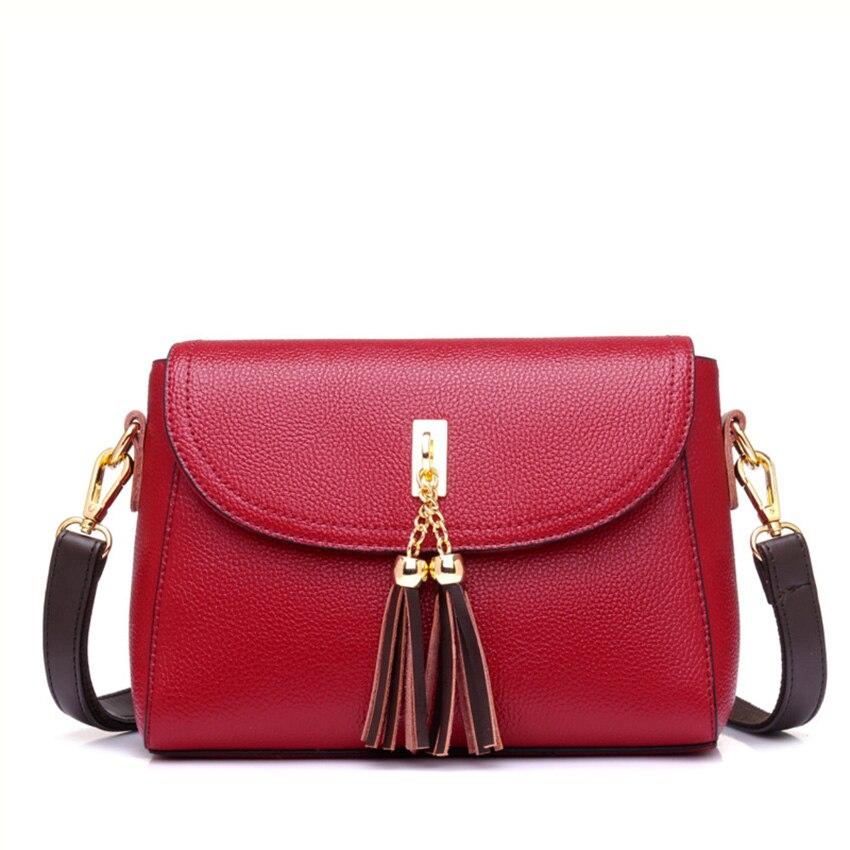 439491f6ce 2018 Women top quality tassel messenger bags vintage handbags pure leather  shoulder bag women crossbody bags ZL62