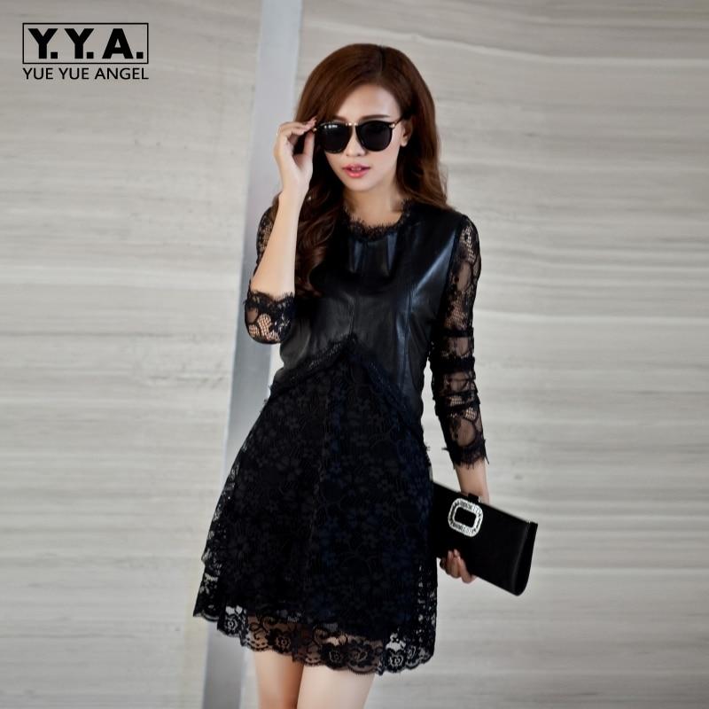 Office Lady Long Sleeve Mini Dress Womens 2018 New Vestidos O-Neck Genuine Leather Sheepskin Lace Slim Robe Femme Big Size S-5XL