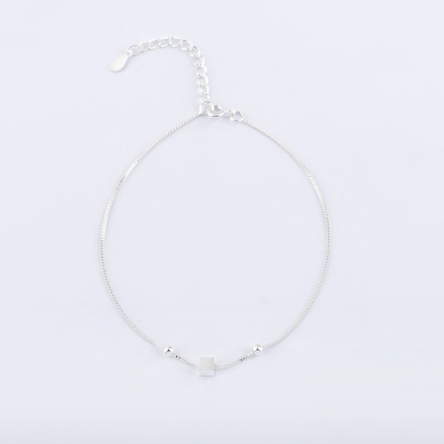 925 Silver New Jewelry Tiny Cubic Square Women Bracelets Fashion Simple Bead Cuff Bracelets for Women