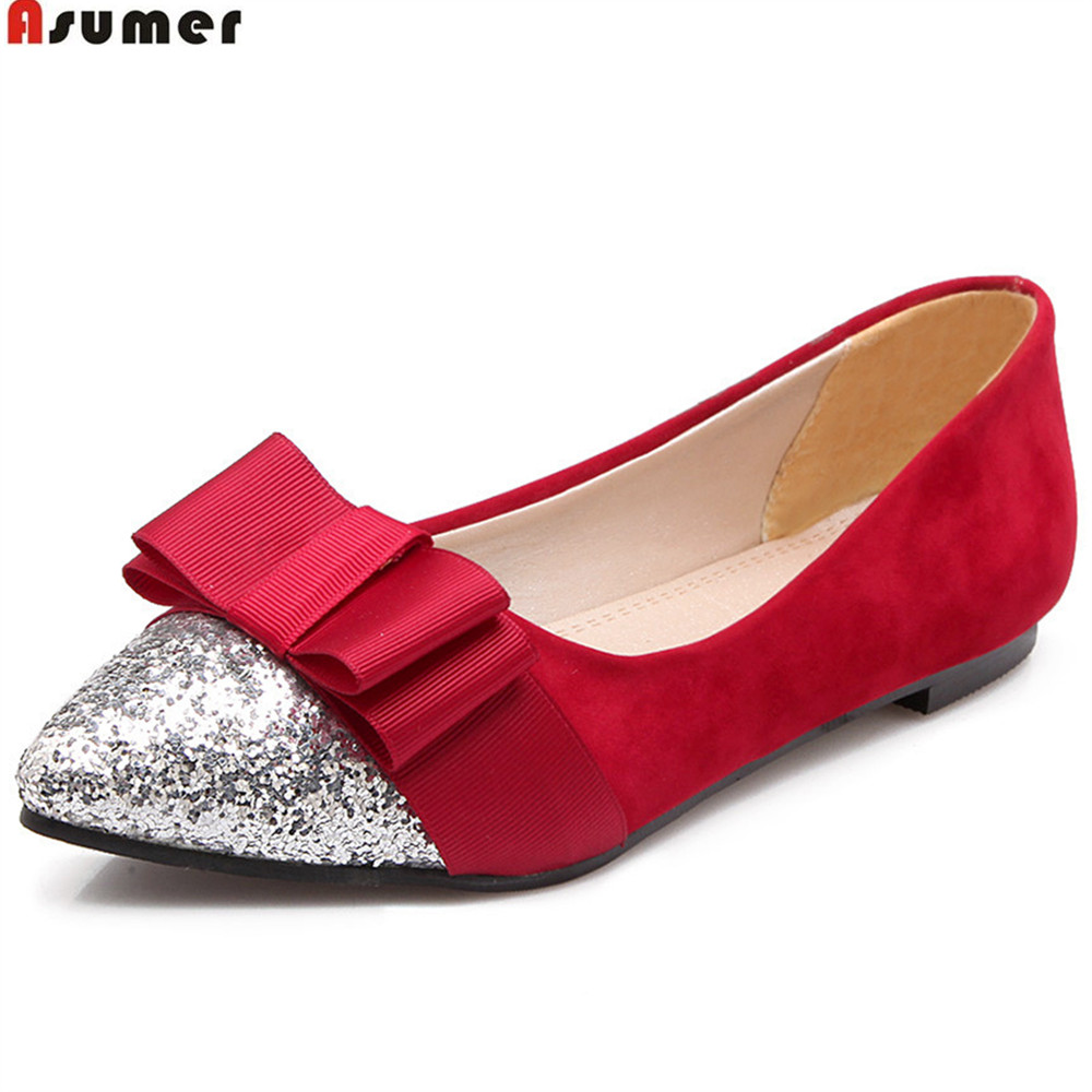 ASUMER black red fashion spring autumn ladies single shoes pointed toe casual bling casual women flat shoes plus size 33-46 new 2017 spring summer women shoes pointed toe high quality brand fashion womens flats ladies plus size 41 sweet flock t179