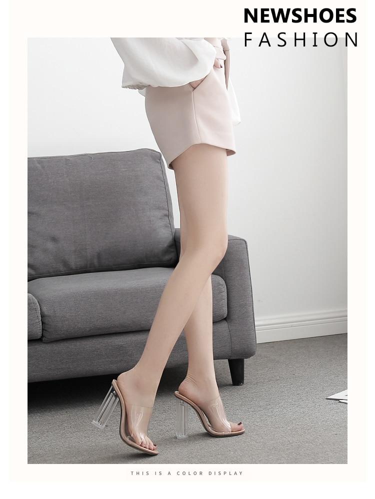 HTB1aI6sa5LrK1Rjy1zdq6ynnpXaX Aneikeh New Women Sandals PVC Jelly Crystal Heel Transparent Women Sexy Clear High Heels Summer Sandals Pumps Shoes Size 41 42