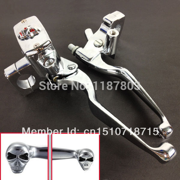 1 Brake Skull Master Hand Cylinder Clutch Levers For Harley Dyna Softail Yamaha Road V Star