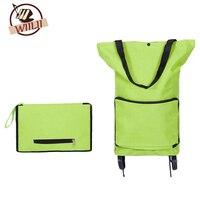 Oxford Folding Shopping Cart Bag With Wheels Trolley Bags Travel Storage Package Handbag Organizer