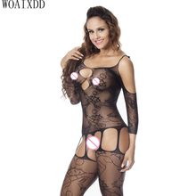 New Sexy Sheer Black and Nude Full Bodystocking Catsuit Sexy Lingerie for Women Hot Erotic Babydoll Halter Style Open Cup(China)