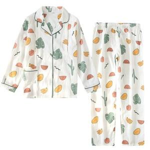 Image 5 - 100% Garza di Cotone Sottile Maternità Usura Delle Donne Pajamas Set Allentato Allattamento Al Seno Vestiti Del Fumetto Degli Indumenti Da Notte di Autunno Più Il Formato Pigiama