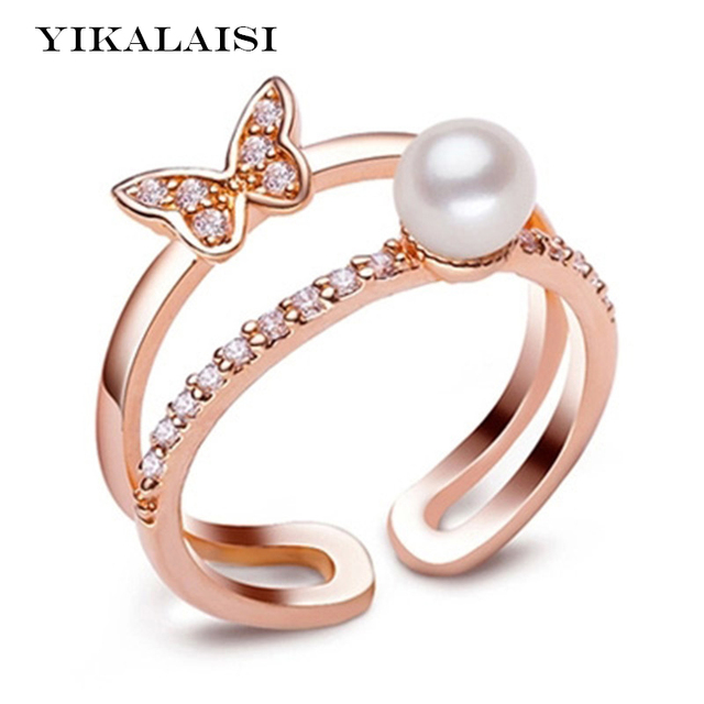 yikalaisi 2017 pearl ring jewelry butterfly open ring freshwater pearl wedding rings 925 sterling silver jewelry - Pearl Wedding Ring