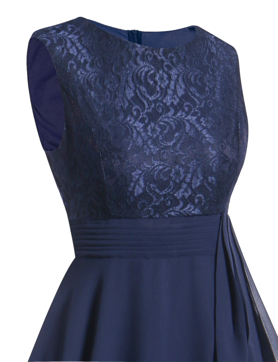 OML522L#Chiffon and Lace navy blue Short Bridesmaid Dresses Weddiong Party Dress 2018 Prom Gown Women Fashion Wholesale Clothing 12