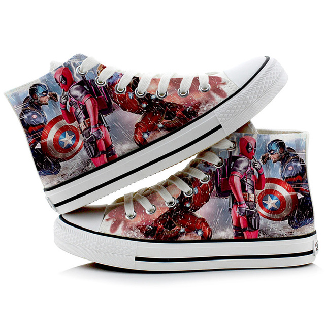 ccb9926c59c1 Halloween Men SuperHero Cosplay Shoes Canvas Shoes Printed Sneakers  Deadpool Captain American Printed Shoes
