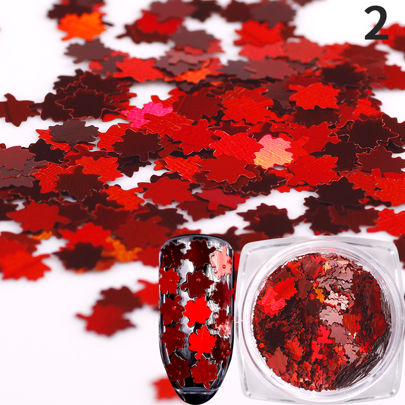 12 colors/set Holo metal color Maple leaf nail sequins Holographic Acrylic Paillette tips uv gel nail art deocorations tools outtop pretty new fashion 72 colors gel varnish spangle glitter nail art paillette acrylic uv powder polish tips set