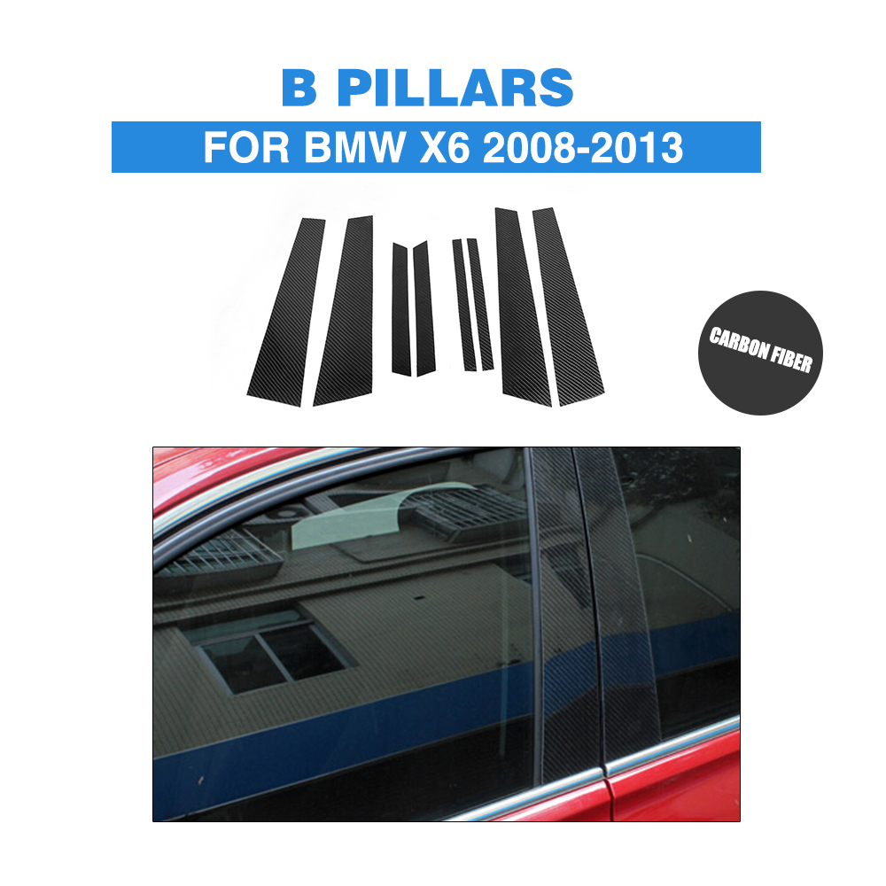 8PCS/Set Carbon Fiber Car Window B Pillar covers For BMW  X6 E71 X6M 2008-2013 Trunk Trim Stickers Car Accessories carbon fiber car roof shark fin decoration antenna exterior trim for bmw e70 x5 e71 x6 2008 2014 car styling