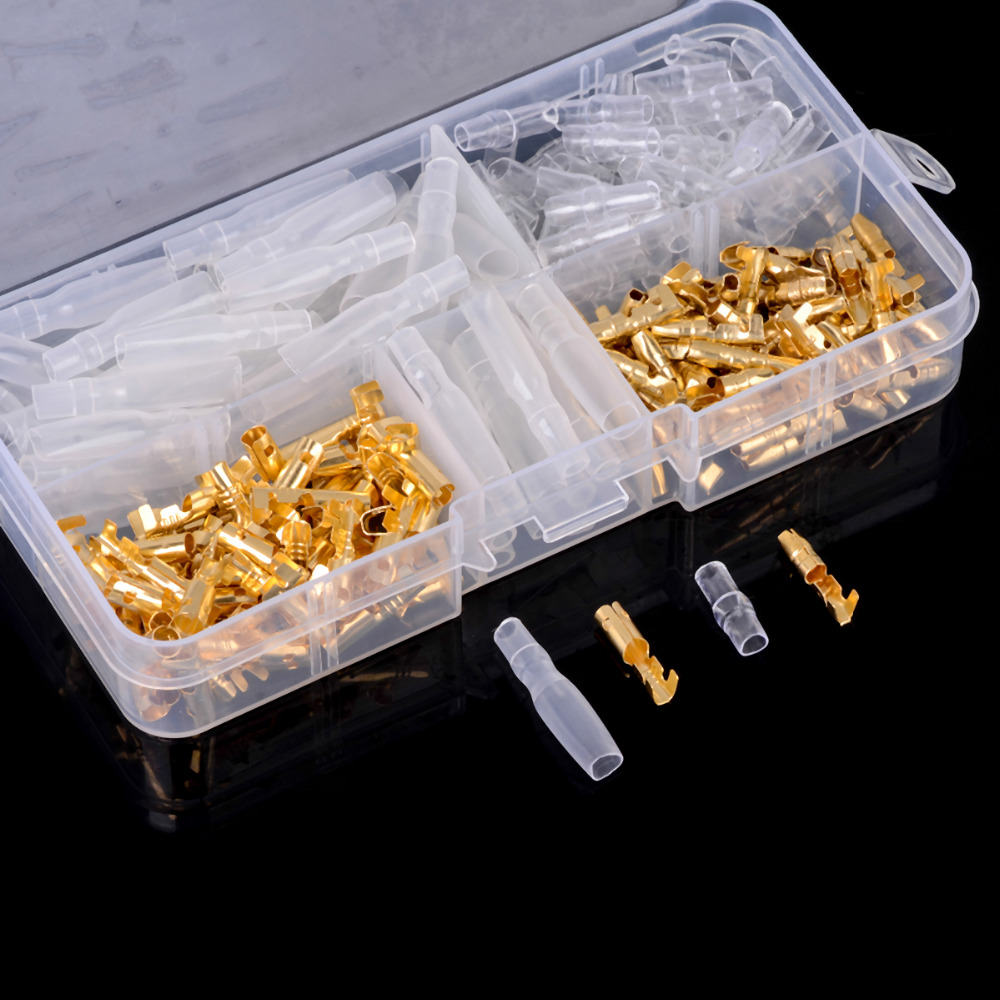 120pcs/set 3.5mm Brass Bullet Connector Terminal Male & Female with Insulated Cover Gold / Transparent Kit 100pcs lot 4 8 male and female insulated terminal insert the plug sheathed wire terminal connector 0 2 1mm2