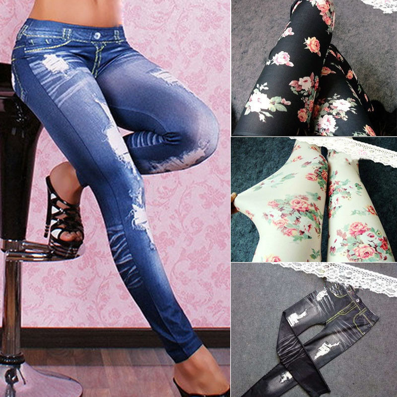 New Sexy Women Denim   Leggings   Fashion Destroyed Ripped Pants High Waist Stretch   Leggings   Slim Pencil Street Trousers