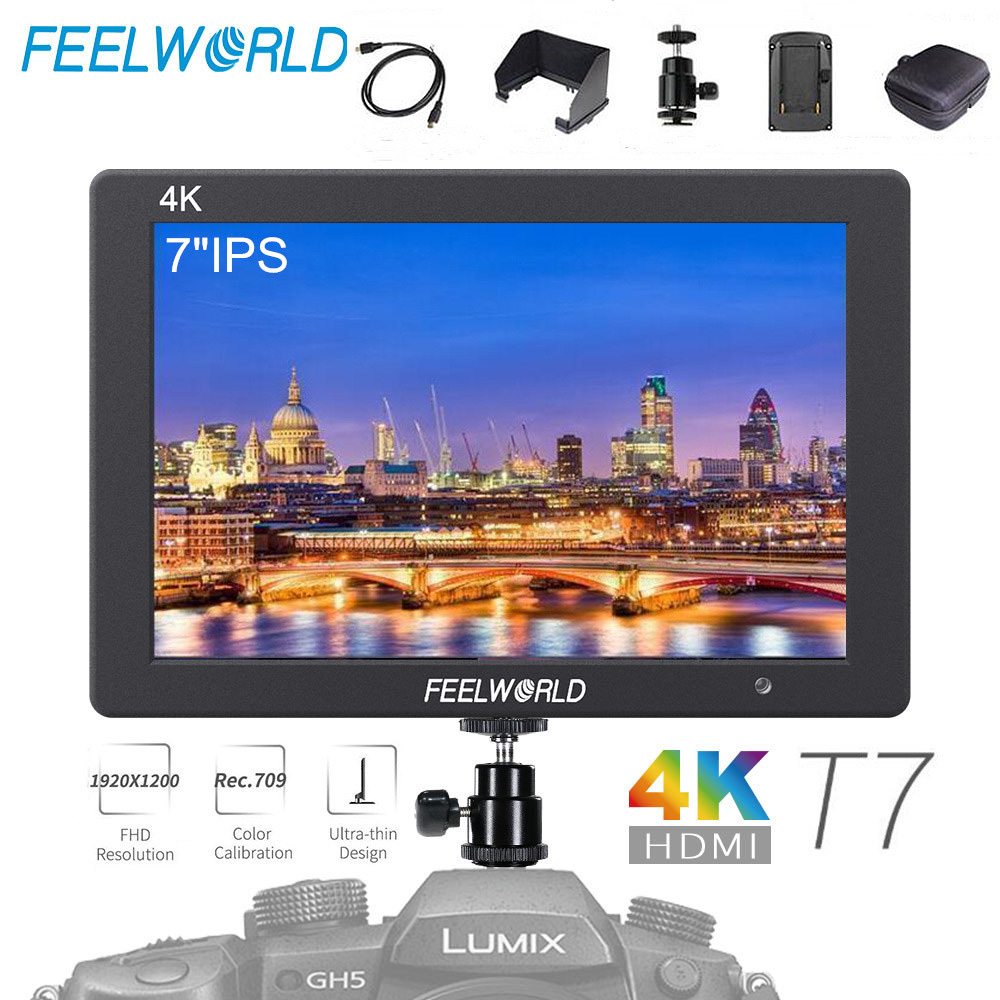 Feelworld T7 7 IPS 4K HDMI On Camera Field Monitor Full HD 1920x1200 with Bag Quick Release Plate for Sony Canon Nikon EtcFeelworld T7 7 IPS 4K HDMI On Camera Field Monitor Full HD 1920x1200 with Bag Quick Release Plate for Sony Canon Nikon Etc