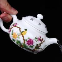 Jingdezhen Handmade Black Tea Pot Pastel Flower And Bird Kung Fu Teapot, Ceramic Filter, Single Pot Tea Set Trumpet Te