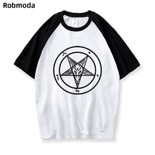 Pentagram Gothic Occult Satan New Men's Fashion Short-sleeve Round Collar T-shirt Cool Tops Tees Raglan T-shirt Loose Harajuku loose stripe raglan sleeve t shirt