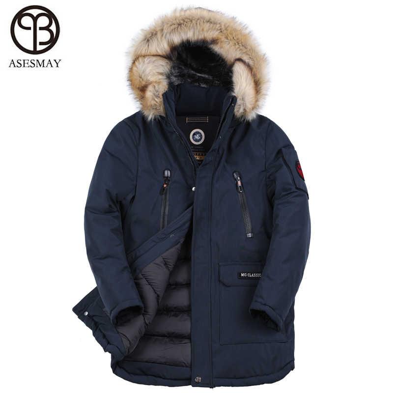 Asesmay 2018 חורף גברים מעיל עבה מאוד חם באיכות גבוהה גברים של בינוני ארוך Parka חורף מעיל מלאכותי פרווה סלעית בתוספת גודל