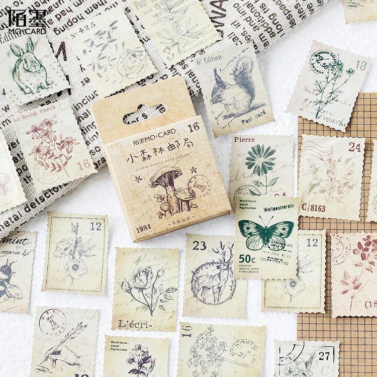 45pcs/pack Cute Stamps DIY Cartoon Decorative Sticker Tape,Kids Craft Scrapbooking Sticker Set For Diary, Book, Photo Album