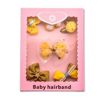 Amarillo 1 Juego de 6 uds. De tela de dibujos animados princesa arco pollito Kitty de horquilla de tela titular de la tarjeta Kit de cumpleaños diadema de regalo caja de regalo