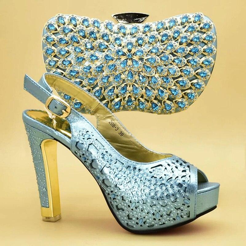 sky Party Schuhe gold Tasche Frauen orange High In Für Nigerian Heels Black Schuh Und Mode Mit Hochzeit Set Verziert Strass Blue TXwEvHnq