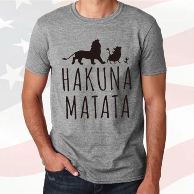 New Summer Cotton T-Shirts HAKUNA MATATA Men Plus Size T-Shirts Streetwear Short Sleeve Slim Fit Fashion Tops&Tees Male Cloth(China)