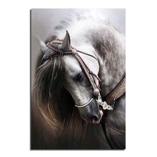 2019 1PC Diy Diamond Embroidery Painting Horse Cross Stitch Printed Kits Picture Rhinestones Round
