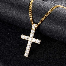 Shellhard Crystal Rhinestone Cross Pendant Necklace Gold  Color Crucifix Long Chain Men Hip Hop Jewelry
